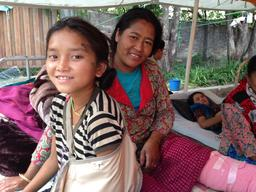 Mother/daughter injured treated at UNICEF medical tent Jorpati Hospital Nepal