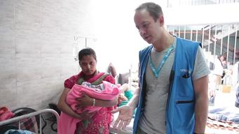 UNICEF-provided medical tents, Patan Hospital, Nepal