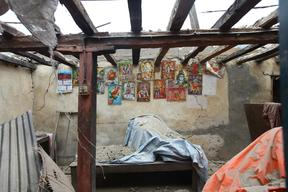 Mutiple images of deities and flowers line a wall in a roofless house in Baluwa