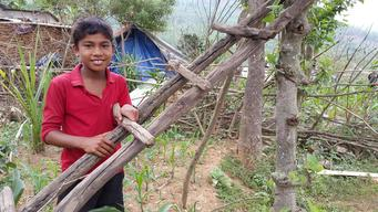 Vikas - Nepal earthquake survivor in cornfield of his family farm
