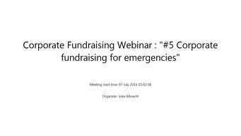 PFP Corporate Fundraising Webinar #5 Corporate fundraising for emergencies