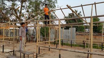 Temporary learning center being constructed of bamboo in Kathmandu Nepal
