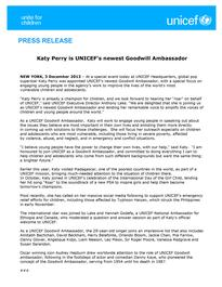 Katy Perry: New UNICEF Goodwill Ambassador - Press Releases